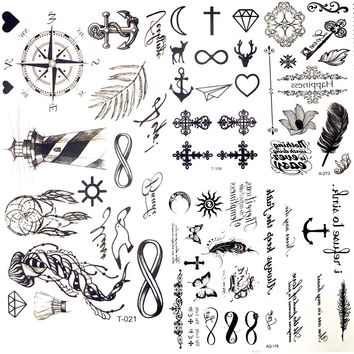 Little Gadgets Infinity Water Transfer Tattoo Black Compass Endless Tatoo Women Body Arm Hand Art Temporary Tattoo Stickers Men
