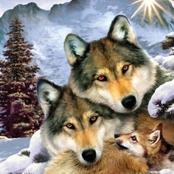 Free Shiping 5D Diamond Painting 100% full square drill Home decoration Cross Stitch Mosaic Embroidery needlework wolf familis