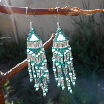 Hand Beaded Fringe Earrings, Brick Stitch, Green, White and Silver Seed Beads, Native American Inspired, Handmade, Powwow, Rendezvous
