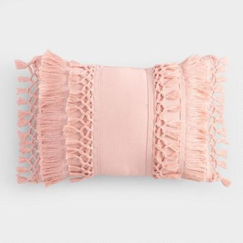 Blush Fringe Indoor Outdoor Lumbar Pillow