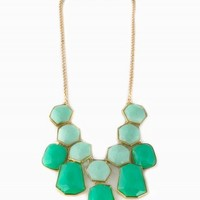 MIXED GREEN STATEMENT NECKLACE