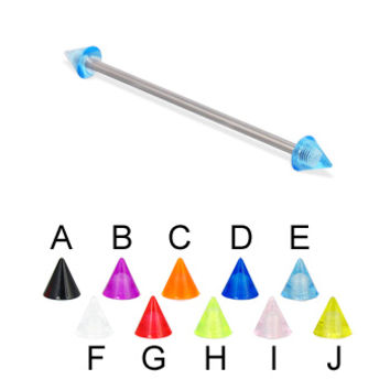 Long barbell (industrial barbell) with UV cones, 14 ga