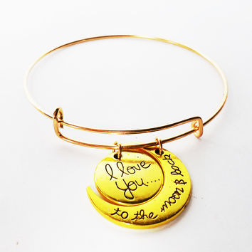 Designer Inspired Bangle Charm Bracelet with I Love You To the Moon & Back Charm Set