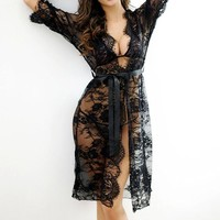 DCCKL3Z 2017 Sexy Women Nightgowns & Sleepshirts Three Quarter O Neck Nightgowns Solid Full Lace Transparnet Hollow Out Dress