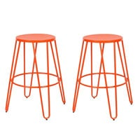 Orange 26-inch Metal Counter Stools (Set of Two)