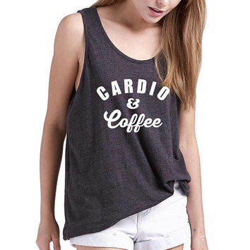 Cardio & Coffee Tank Top Ladies Unisex Tank Top Coffee Shirt Cardio Tank Coffee LoverBride Bridal Party Gift Funny T-shirts Brunch T Shirt