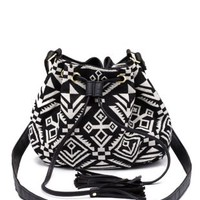 Black Combo Tribal-Woven Tassel Bucket Bag by Charlotte Russe