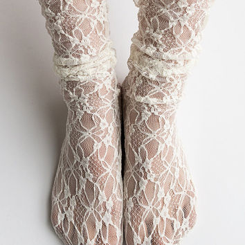 Women New Hezwagarcia Nylon Spandex Floral Mesh Sheer Lace Ivory Ankle Nylon Socks Hosiery