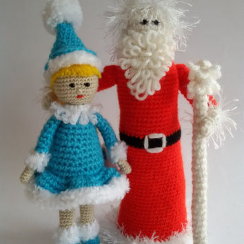 Crochet Santa Claus & Mrs. Claus Soft Dolls, Christmas Decoration,Santa Claus Amigurumi,toy,Christmas Gifts, Christmas ornaments,