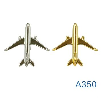 Airbus A350 Mini Badge, Metal, Plane Shape Brooch, Silver / Gold Special Gift Souvenir for Filght Crew Pilot Avaiton Lover