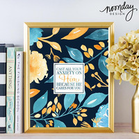 Cast All Your Anxiety on Him Printable, Bible Verse Art, 1 Peter 5:7, Blue and Yellow, Watercolor Floral Art Print, Instant Download