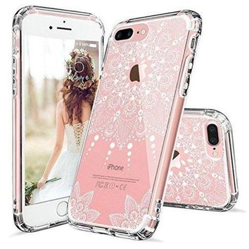 PEAPGQ6 iPhone 8 Plus Case, iPhone 8 Plus Clear Case,MOSNOVO White Henna Mandala Floral Lace Clear Design Printed Hard with TPU Bumper Protective Back Case Cover for iPhone 8 Plus (2017)