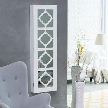 Belham Living Lighted Locking Quatrefoil Wall Mount Jewelry Armoire - High Gloss White | www.hayneedle.com