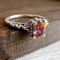 Anastasia Topaz Ring Sterling Solitare Oval Gemstone Size 6
