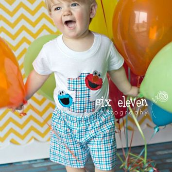 Boys Elmo Cookie Monster Birthday Outfit, Baby Boys Sesame Street First Birthday Outfit