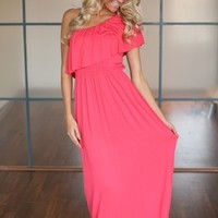 Side Of Ruffles Maxi Dress Coral