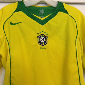 Sale!! Vintage Nike Brasil Home Soccer Jersey Brazil Football Shirt Futbol Size Small Free US Shipping