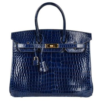 Hermes Blue Sapphire Porosus Crocodile Gold Hardware Birkin 35 Bag