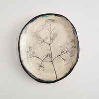 Pressed Early Meadow Rue Ceramic Ring Dish (no 500)