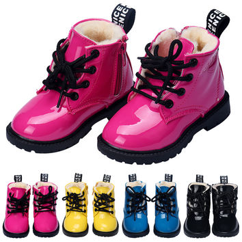 2016 New warm winter Fashion PU Leather Toddler Girls Boys Shoes New Casual Flat Children Boots Baby Shoes toddler running shoes