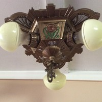 Vintage Art Deco Sunburst Ceiling Light Fixture 3 Light PolyChrome 1932 Antique
