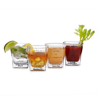 Cocktail Recipe Glasses - Set of 4 | classic cocktails