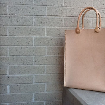 Oversized Leather tote bag hand stitched vegetable tanned leather - nude raw thick leather