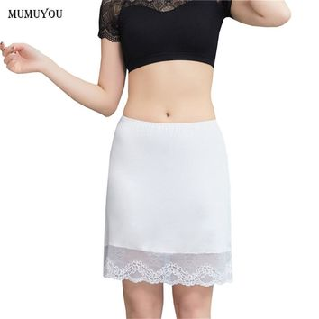 Women Modal Lace Half Slips Underskirt Elastic Waist Petticoat Safety Skirt Sexy Lingerie Intimates 42cm White Nude New 038-A363