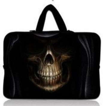 "Skull  10.1"" 10.2"" Netbook Laptop Carrying Sleeve Case Bag Cover+ Hide Handle For 9.7""-10.2"" Apple, ASUS,ACER, HP,DELL"