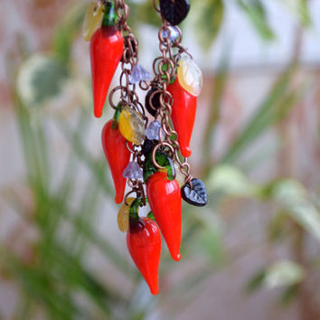 Chili Pepper necklace Lampwork glass bead jewelry hot chilli pepper Harvest Vegetable Food Fall wedding gift Christmas gift Women gift