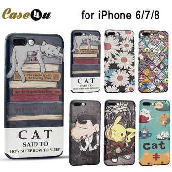 Cute Funny Sleep Cat s Go Pikachue Case Cover for iPhone 7 8 6 6s Plus coque Soft Leather Case Doraemon Crayon Shin ChanKawaii Pokemon go  AT_89_9