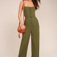 Beach Day Olive Green Backless Jumpsuit