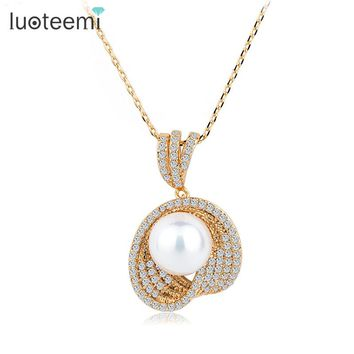 LUOTEEMI Imitation Pearl Pendant White Champagne Gold-Color CZ Micro Necklace Charm Fashion Jewelry for Women Ladies Girls