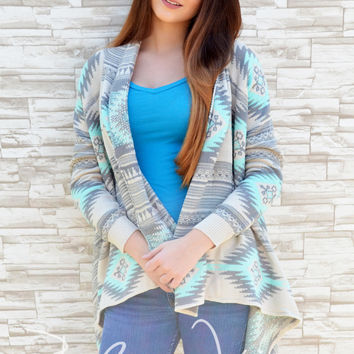 "You're All I Need"" Aztec Print Cardigan-Mint"