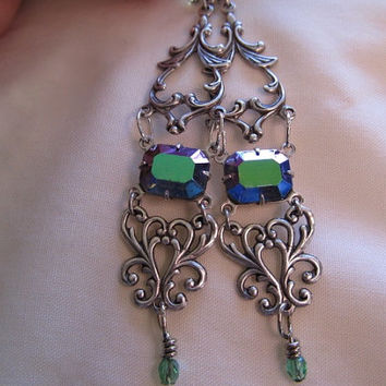 Art Nouveau Earrings Sterling Earrings Art Deco Earrings Vintage Green Earrings Filigree Earrings Purple Dangle Earrings- Jewel Delight