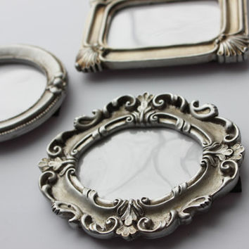 Set 10 Mini Assorted VINTAGE STYLE FRAMES Silver Chrome Metallic Placecard Favors Table Number Menu Label Frame Resin Photo Miniature Ornate