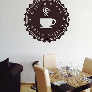 ik2142 Wall Decal Sticker break coffee cup drink restaurant cafe snack showcase