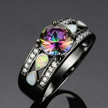 Vintage White Fire Opal Multicolor Sapphire Ring