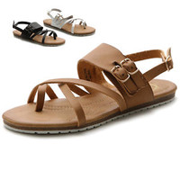 Ollio Womens Shoes Side Buckle Gladiator Strap Zip Closure Flats Zori Sandals
