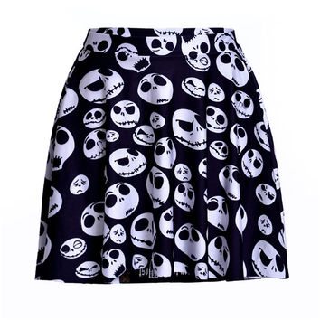 Black Skull Print Pleated Skirt