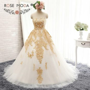 Rose Moda Luxury White and Gold Ball Gown Gold Lace Wedding Dress Plus Size Real Photos
