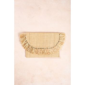 Leanne Light Tan Straw Clutch