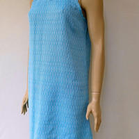 Unique made turquoise colour exclusive patterned soft and light weight summer strapped slip dress, tunic, beach dress.