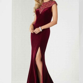 Tiffany Designs - 46119 Beaded Fitted Evening Dress with Slit