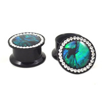 Pair (2) Abalone Inlay Ear Plugs Clear CZ Gemmed Rim Stash Tunnels - 0G 8MM