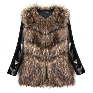 Women Winter Fashion Slim Faux Fur Synthetic Leather Patchwork Long Sleeve Jacket Coat = 1838570500
