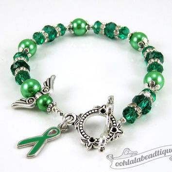 Liver Cancer bracelet awareness jewelry Guardian Angel bracelet cancer awareness green ribbon bracelet gift cancer jewelry ribbon awareness