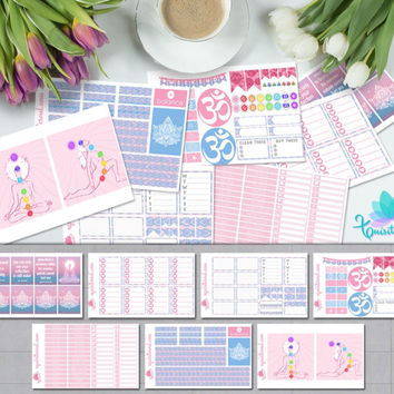 Pink and Blue Ohm Chakra Art Weekly Planner Sticker Kit/ Erin Condren Planner Accessories/ ECLP Pastel Colors Organizer Sticker Sheet