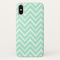 Mint green whimsical zigzag chevron pattern iPhone x case