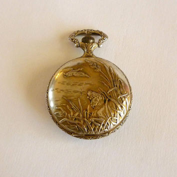 Quartz Armitron Pocket Watch Hunting Scene – Needs Repair, Vintage Watch Jewelry